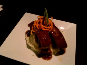 Braised Pork Belly in Sweet Soy Red Wine Reduction Sauce over Garlic Truffle Mash