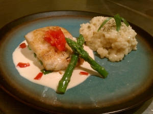 Seared Mahi with Butter Ponzu Sauce & Shiitake Risotto