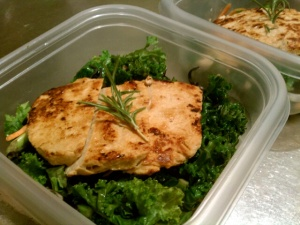 Chick'n Scallopini over Sauteed Kale Salad